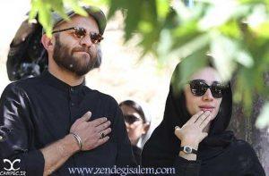 بابک حمیدیان و همسرش فاطمه ساداتی بر سر مزار عباس کیارستمی